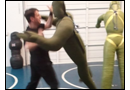 Martial arts training with the punching dummies during self-defense class